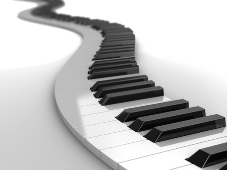 keyboard player: 3d modern piano curves, music concept