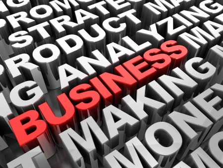 Red 3d –text business in the center of grey words Stock Photo - 15707647