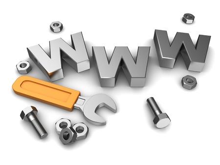 www: Internet repair: wrench, www, metallic screws and bolts