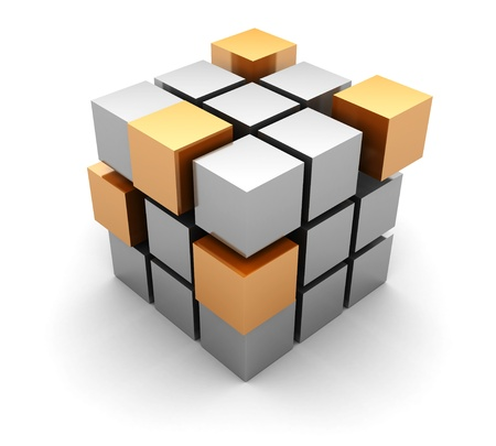3d abstract cube on white background Stock Photo