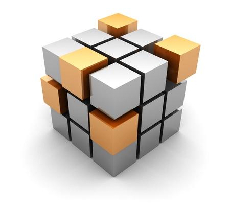 在白色背景3d抽象立方體