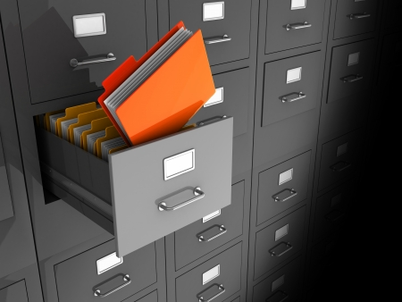 card file: Grey office wall of files with important information in front