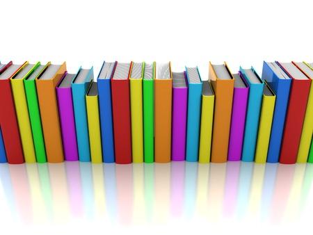 rows: 3d illustratie: kleur boeken in lijn geïsoleerd op een witte achtergrond