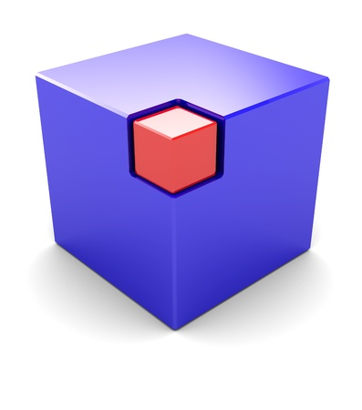 Blue big cube with red small box in the corner photo