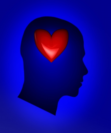Blue human head with red heart photo