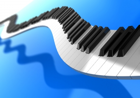 synthesizer: Synthesizer curves over blue background, music concept Stock Photo