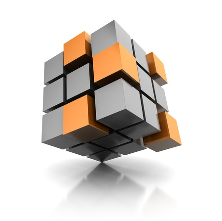 segments: 3d abstract cube standing on corner Stock Photo