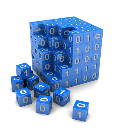 mathematical: Binary code on digital blue cube, 3d image Stock Photo