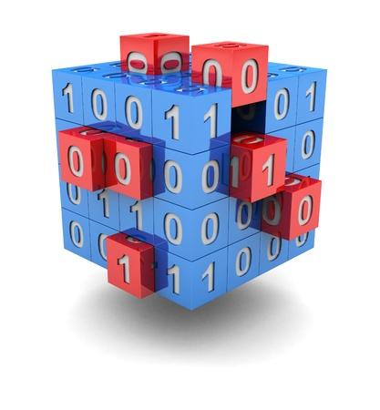 codigo binario: Tecnolog�a cubo con rojo peque�o c�digo binario c�bico y en �l