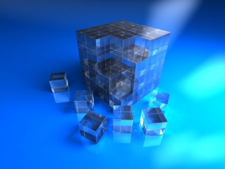 3d abstract blue glassy cube photo