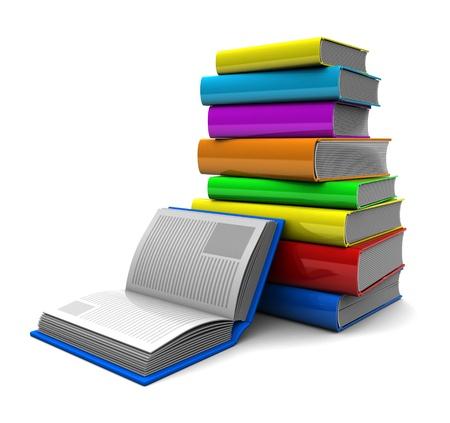 pile of books: Illustrazione 3d: pila di libri a colori con libro aperto nelle vicinanze