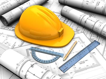 plan van aanpak: Industrieel project met gele helm, potlood en regels Stockfoto