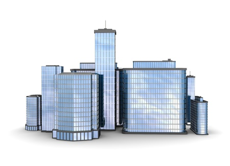 Business city over white background, 3d illustration illustration