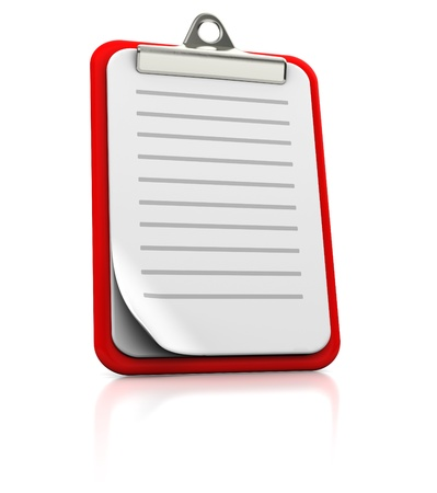 paperwork: Clipboard with strips on white background, 3d image