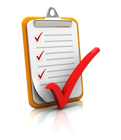 clipboard isolated: Clipboard with checklist on white background, 3d image