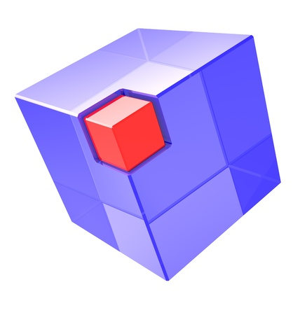 Blue transparent cube with red small box in the corner photo