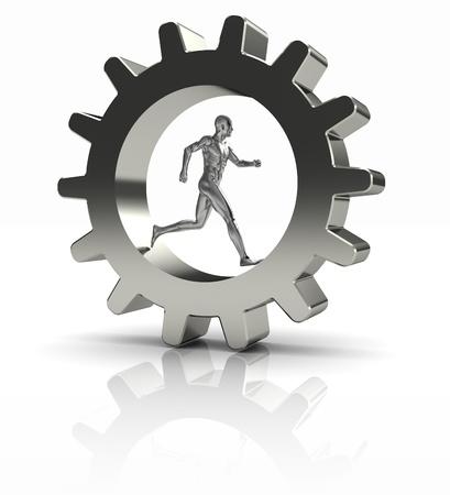 Strong man running in metal gear – business concept