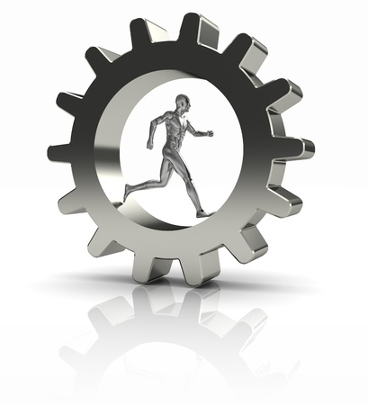 Strong man running in metal gear � business concept