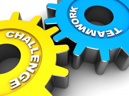 maquinaria pesada: Engranajes color con palabras el trabajo en equipo y los desafíos
