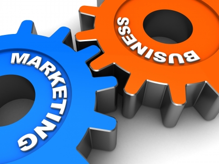 Color gears with words business and marketing
