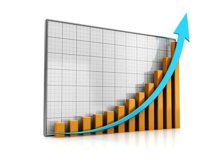 Graph with successful statistic isolated on a white background photo