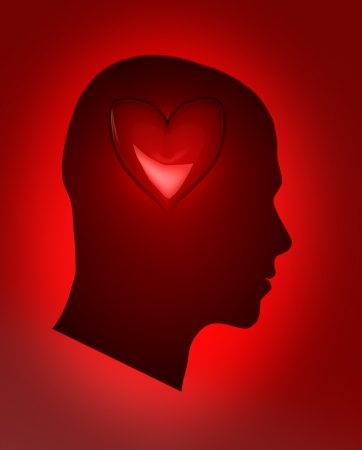 Male head with red heart � human life concept photo