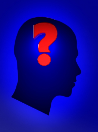 Blue male head with question mark photo