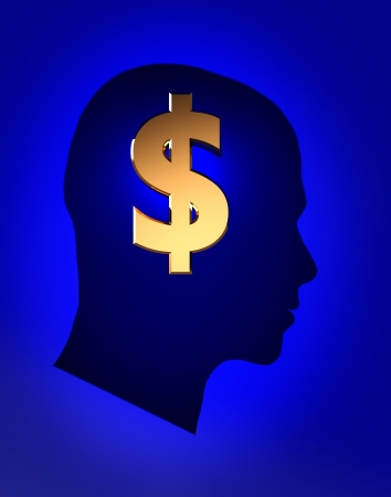 rich life: Male head with sign dollar inside