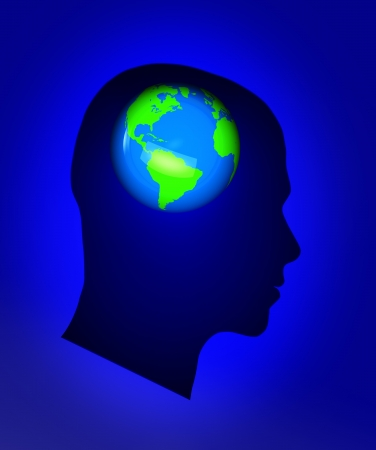 Male head with small earth inside Stock Photo - 16290385
