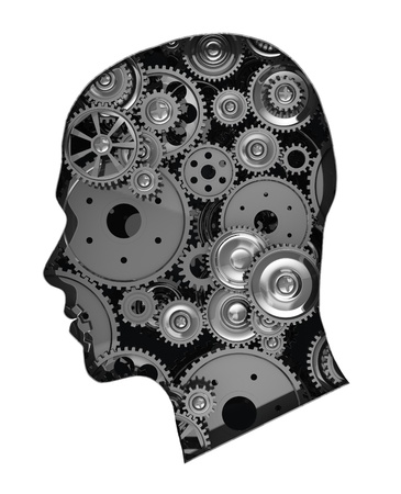 brain power: Human head with metal gears isolated on white background Stock Photo