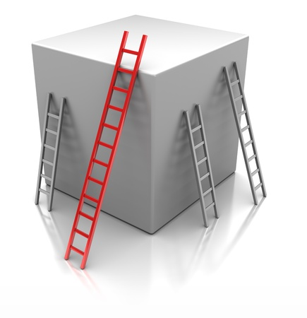 Cube with  ladders, concept success photo