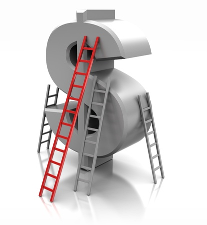 Sign of dollar with ladders, concept success Stock Photo - 16290695