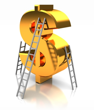 Golden sign of dollar with stairs, concept success Stock Photo - 16290691