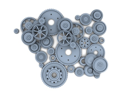 Many industrial gears over white background Stock Photo - 16290899