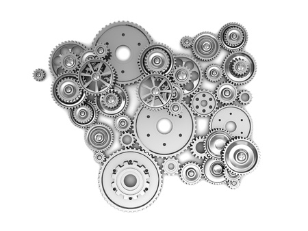 toothed: Silver industrial gears over white background