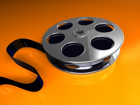 3d image, film reel over orange background photo