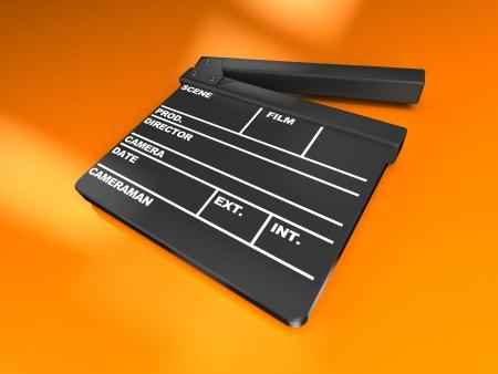 clap board: 3d image, clapboard cinema over orange background