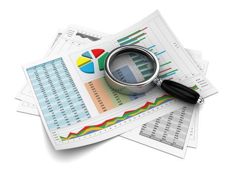 Business report with magnifying glass, 3d image