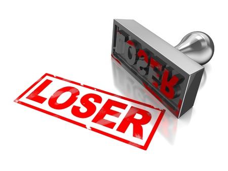 Stempel Verlierer mit roter Schrift auf weißem