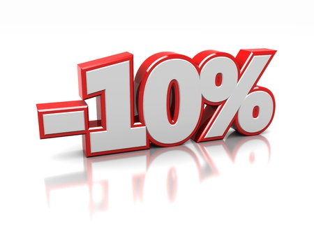 percentage sign: 3d of ten percent isolated on a white background