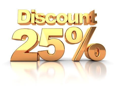 selloff: Discount coupon with 25 percent on a white background Stock Photo