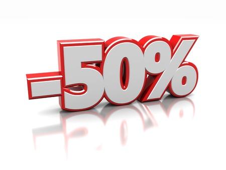 百分之五十隔絕在一個白色背景,3D圖像