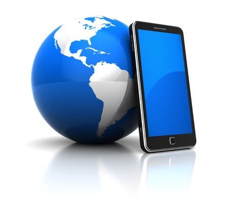 Global communication concept: mobile phone with blue planet photo