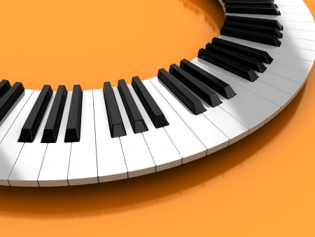 melodious: Classic synthesizer  over yellow background, 3d illustration Stock Photo