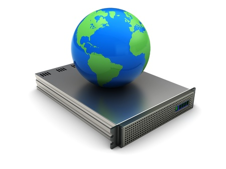 3d image, planet placed on server equipment Stock Photo - 16290801