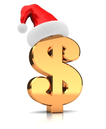 Sign of dollar with hat santa claus Stock Photo