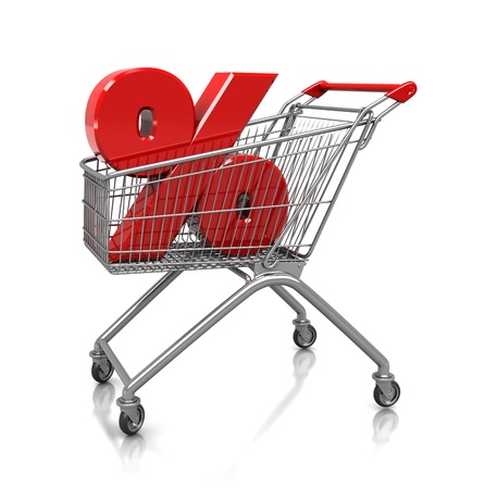 Symbol of percent placed in shop cart, 3d image photo