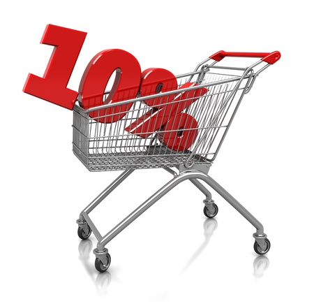 consumerism: Red  ten percent placed in shop cart  isolated on a white background Stock Photo
