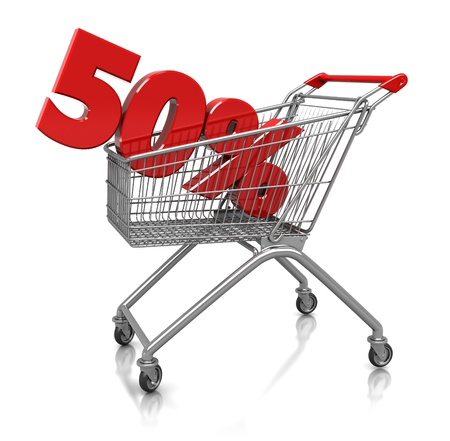 pay off: Red  fifty percent placed in shop cart  isolated on a white background