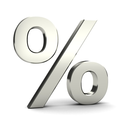 Symbol of percent isolated on white background, 3d image photo